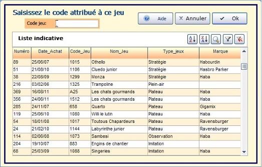 code saisie