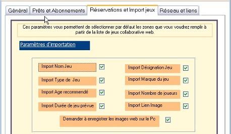 Paramètres import